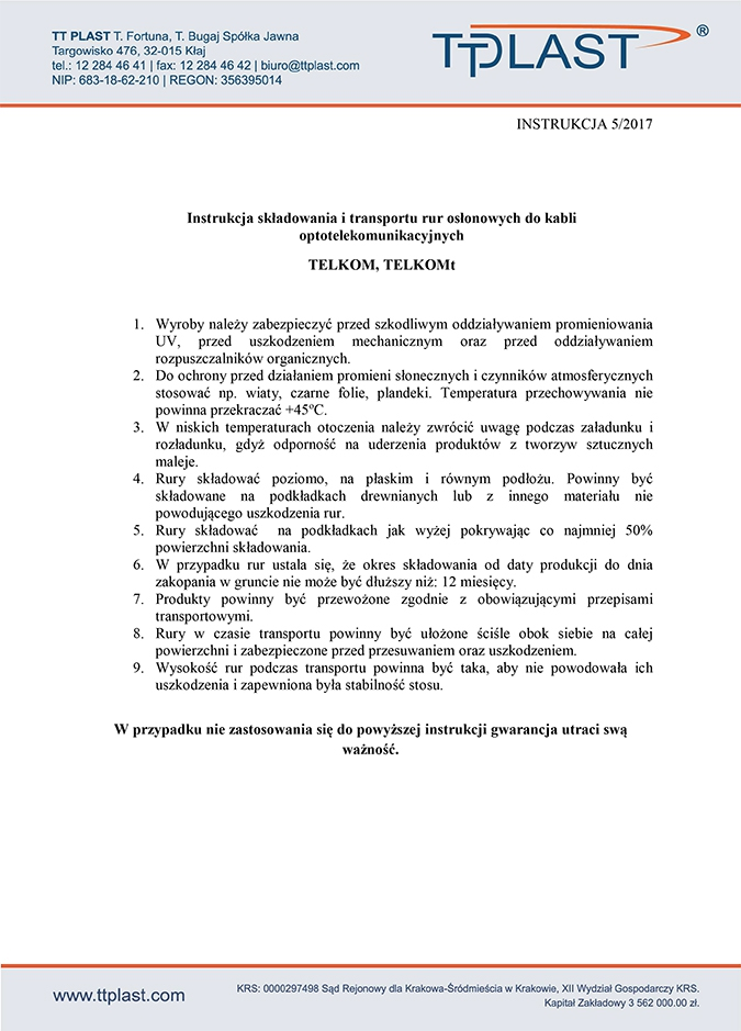 Instrukcja składowania i transportu rur osłonowych do kabli optotelekomunikacyjnych TELKOM, TELKOMt